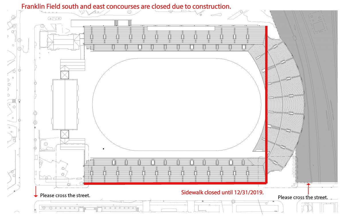 Construction map of Franklin Field - south and east concourse closed until 12/31/19