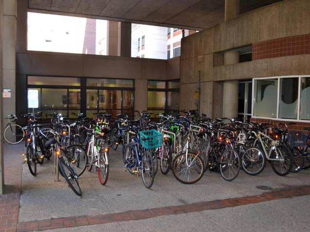 bike rack outside Stemmler North