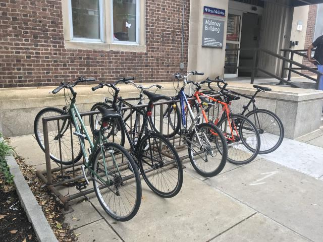 Bike rack at the Maloney Building