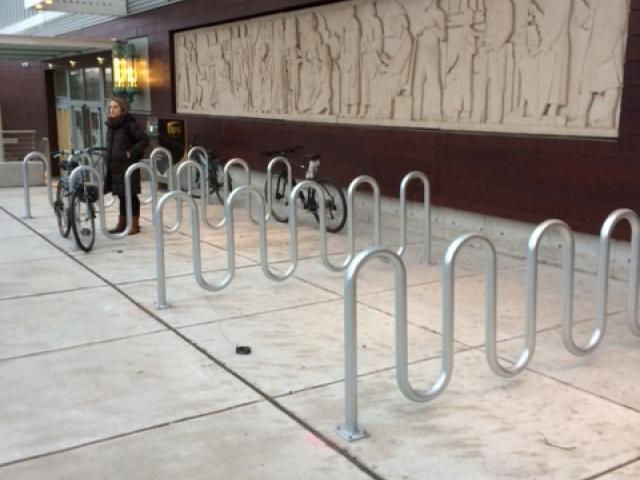 bike rack next to Advanced Medicine building