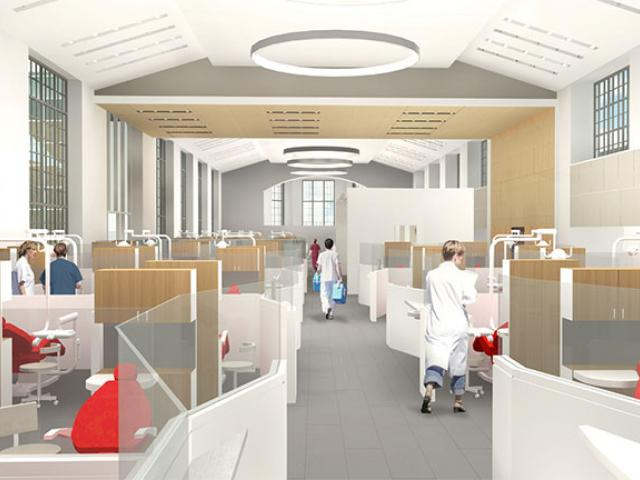 Renovated clinic rendering