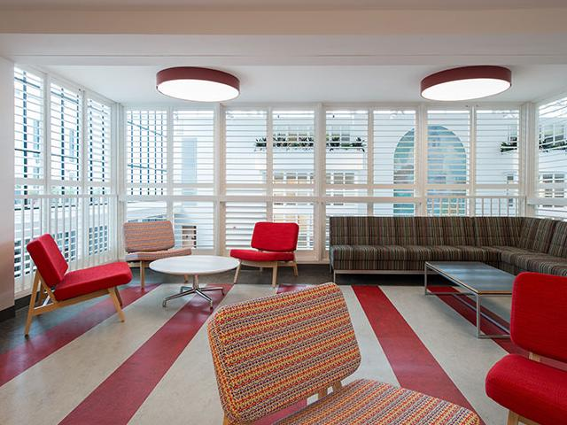 Hill student lounge red quadrant