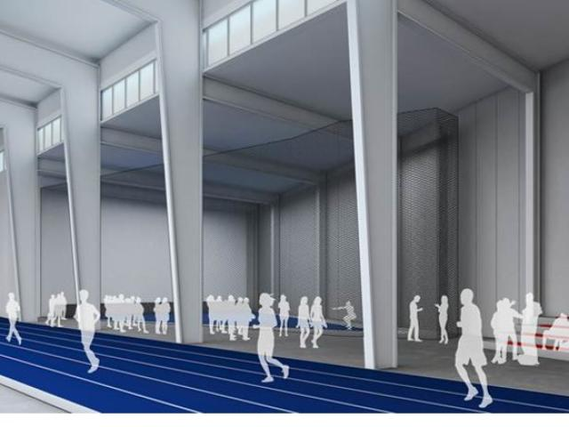rendering of the track inside the Ott Indoor Training Facility