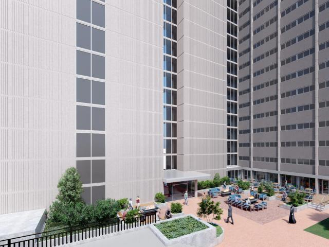 rendering of proposed renovations to Sansom Place East