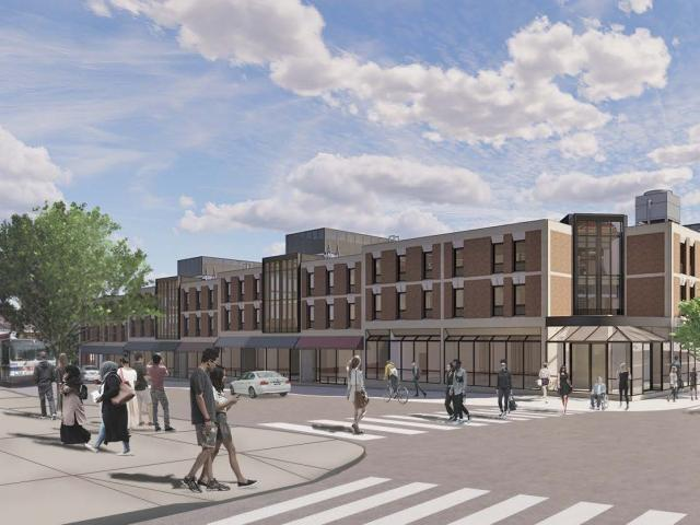 street view rendering of proposed renovations to Stouffer College House