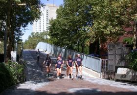 Class of 1949 Bridge with students walking