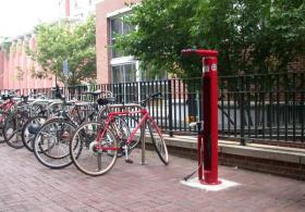bike rack outside Pottruck building