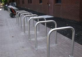 bike rack beside Van Pelt Gregory