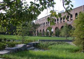 Shoemaker Green view of lawn in front of the building