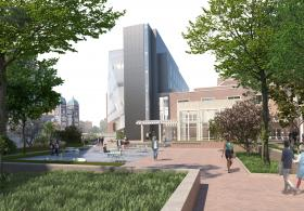 Rendering of restored Woodland Walk facing new Wharton Bldg