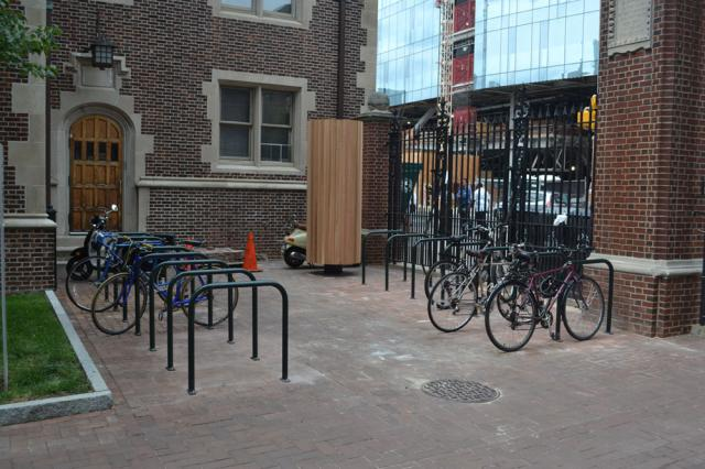 bike rack in front of building on 36th & Spruce Streets