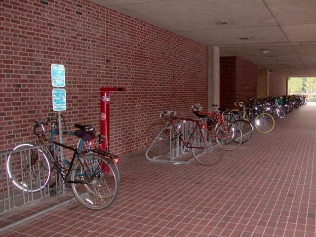 Bike rack in front of the Chemistry Building