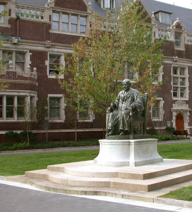 Charles Custis Harrison statue in a courtyard