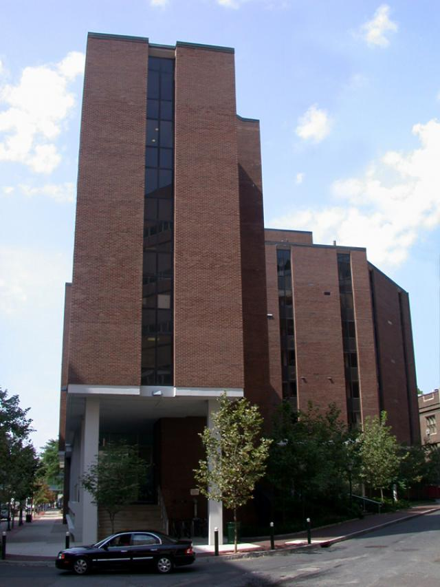 Claire M. Fagin Hall view from the ground level looking up