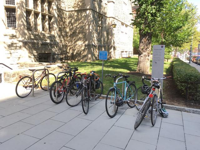 bike rack behind Houston Hall