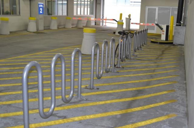 bike rack in Civic Center Garage