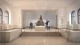 rendering of sphinx at Penn Museum in its new home in renovated Main Entrance Hall