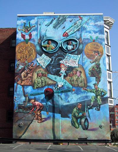 Tribute To Tuskegee mural on the side of a building