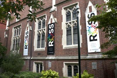 Exterior of the Arthur Ross Gallery, with banners on the building