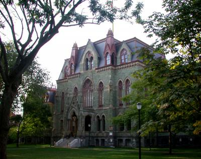 College Hall facade surrounded by trees
