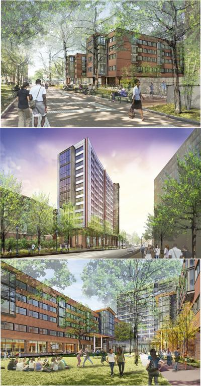 New College House West renderings surrounded by trees